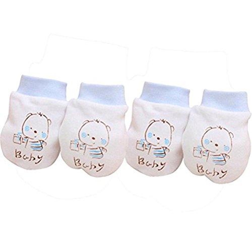 2pares unisex para bebé algodón guantes manoplas antiarañazos para no suave Recién...