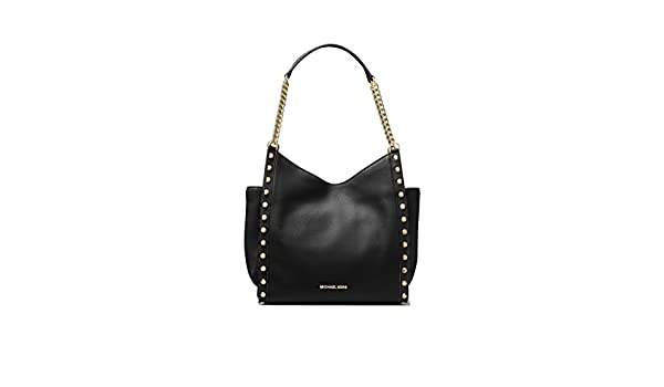 434fb4d63ad MICHAEL Michael Kors Newbury Studded Leather Chain Tote in Black   Amazon.co.uk  Shoes   Bags