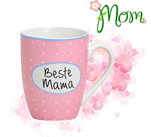 L+H Muttertag Beste Mama Tasse aus hochwertigem Porzellan | 300 ml | Lieblingstasse Becher Geschenkidee | ideal geeignet als Geschenk für den Muttertag oder Geburtstag | für Kaffee Tee Heißgetränk