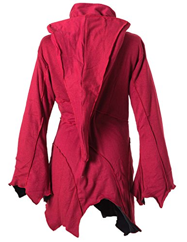 Vishes – Alternative Bekleidung – warme Elfen Zipfeljacke / Kurzmantel mit Zipfelkapuze Mohnrot