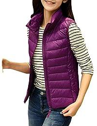 Gilet en Duvet Femme Automne Hiver Ultraléger Packable Doudoune sans Manches  Vêtements Slim Fit avec Zip e61b2188fd2