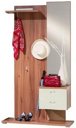 1-4-4-5-306: Garderobe / Spiegelschrank, Garderobenschrank - walnuss / vanille