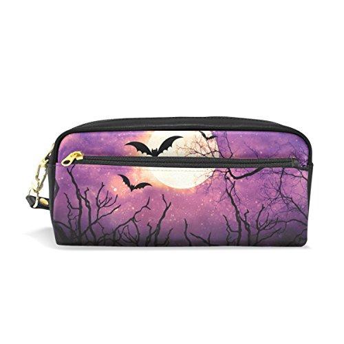 t Fledermaus mit Mond Halloween Bleistift Fall Pen Tasche Münzfach Kosmetik Make-up-Tasche (Fledermaus-make-up)