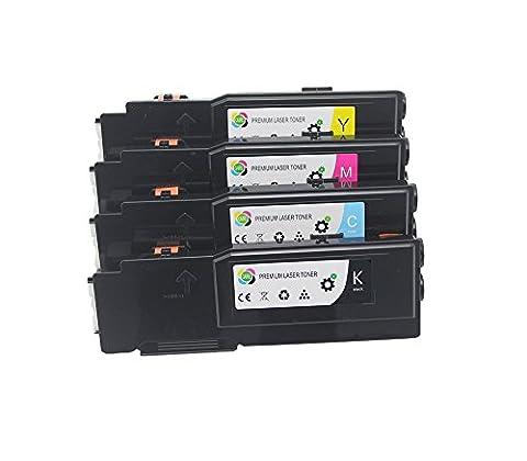 Lot de 4 cartouches compatibles de Toner XEROX Phaser 6600/ WorkCentre 6605, Toner cyan, magenta, jaune, noir x2 - 8000 pages Noir / 6000 pages couleurs