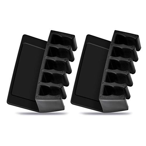 Delaman 2 Stk Selbstklebend Kabelhalter Schreibtisch 5-Kanal Kabel Organizer Kabel-Clip für Power-Kabel Ladekabel USB-Kabel Maus, Schwarz