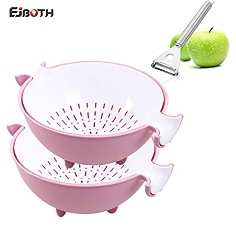 EJBOTH Double Layer Draining Basket Plastic, [2 Pack Draining Basket + 1 Pack Peeler] Multifunctional Washing Bowl Strainer Hollow Design Colander Basin for Washing Fruit & Vegetable