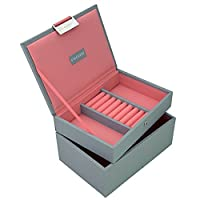 STACKERS Set of 2 'MINI SIZE' - Dove Grey STACKER Set of 2 Jewellery Boxes with Coral Lining