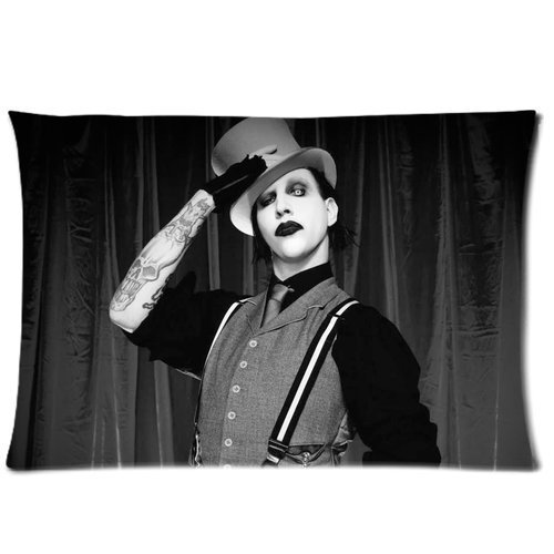 Personalized American Rock Singer Marilyn Manson Pattern Custom PillowcaseRoomy Zippered Pillowcase20*30 inches (One Side)