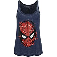 Spider-Man Burnout Washed Top Mujer Azul