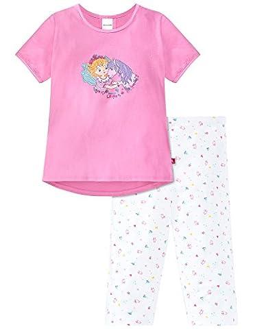 Schiesser Mädchen Zweiteiliger Prinzessin Lillifee Schlafanzug Kurz, Rot (Rosa 503), 104