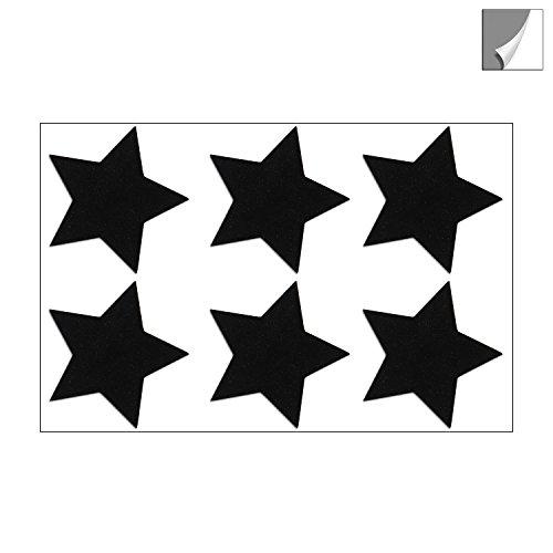 Reflektor Sterne Aufkleber Set, 6 Reflektierende Sticker, je 4,5 x 4,5 cm, schwarz Reflektierend