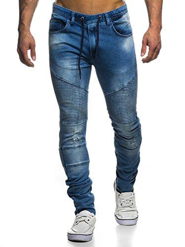LEIF NELSON LN400 Pantalon de jogging matelassé pour homme Bleu foncé