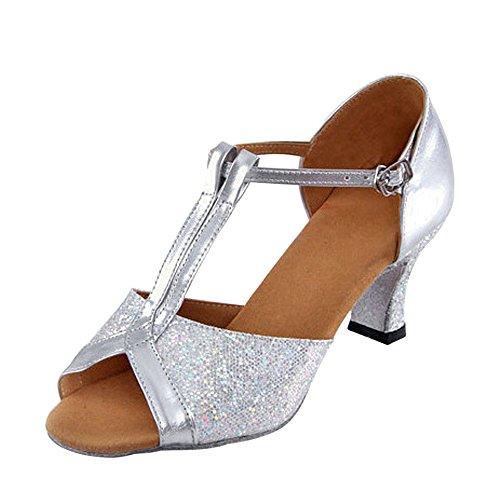 ZEVONDA Modern Funkelnde Glitzer Heels Riemen Metallschnalle Lateinische Tanzschuhe Peep-Toe Damen, Silber, CN 38 (Fußlänge: 24 cm), Ferse 5.5 cm