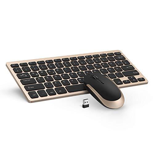 Tastatur und Maus Set, Jelly Comb 2.4G Kabellose Dünne Tastatur mit Funkmaus Kombi für Laptop, PC und Smart TV, Deutsches Layout QWERTZ, Schwarz und Gold