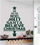 Noel Jolly Santa Claus Zitate Weihnachtsbaum Wandaufkleber Vinyl Artist House Dekorative Wandbild Abnehmbare Wandaufkleber 56x79 cm