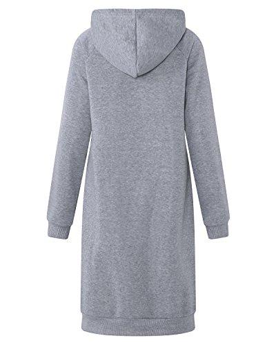 Kidsform Damen Kapuzenpullover Hoodie Lang Tops Oversize Jumper Coat Langarm Sweatshirt Casual Pulli Kleider Grau