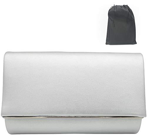 Luxx Fashion Clutch Silber- elegante silberne Clutch- schicke kleine Tasche Silber- modische kleine Handtasche Silber- kleine Umhängetasche Damen- Abendtasche für festliche Anlässe