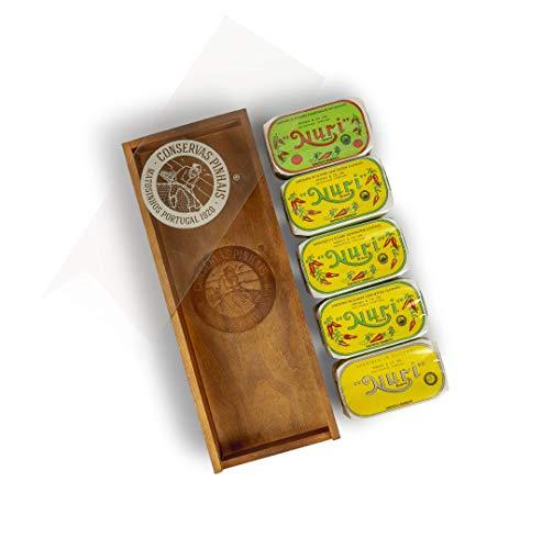 Nuri Sardinen I Handgemacht in Portugal I Eingelegt in reinem Olivenöl 5 x 125 g | Gemischt in hochwertiger Holzbox I Geschenkset Original