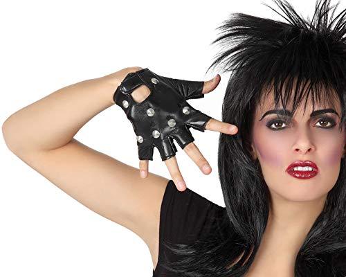 Atosa-56708 Atosa-56708-Accesorio-Guantes Cortos Sin Dedos Mitones Rock Punk, Color negro, Talla única (56708