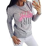 Yying Frauen Sweatshirt Flamingo Bestickte Muster Lange Ärmel Pullover Rundhals Pullover Bluse Tops Grau M
