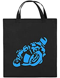 Comedy Bags - Motorrad Motorradfahrer GROß - Jutebeutel Bedruckt, Baumwolltasche Zwei Kurze Henkel aus 100% Baumwolle in 38x42cm, praktischer, Stabiler Stoffbeutel