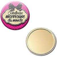Meilleure MARRAINE du monde Miroir de poche 56mm ( Idée Cadeau Baptême Communion Noël )