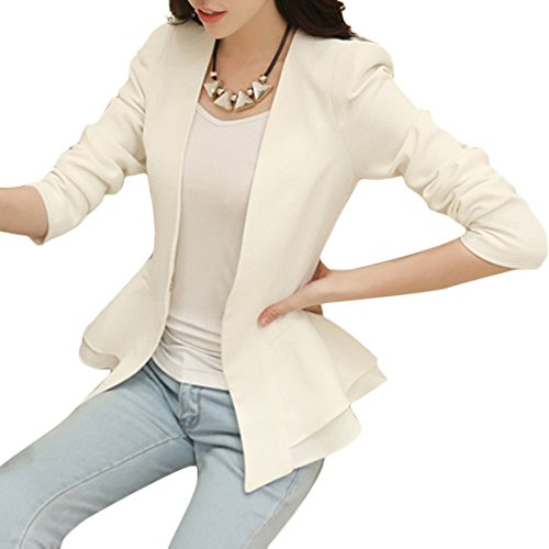 Aisuper Womens Ruffled Frill Open Front Cardigan Blazer Jacket Suit Coat Large White