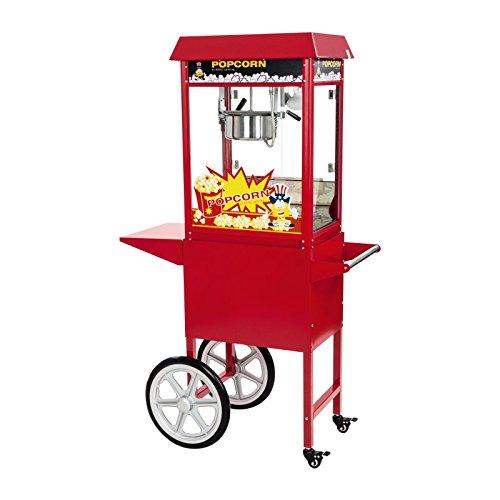 Royal Catering RCPW-16E Popcornmaschine Popcorn Maker Popcorn Bereiter Popcorn Automat mit Wagen Rot Inkl. Zubehör