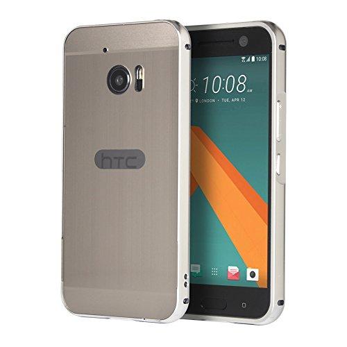 Huphant HTC 10 Hülle, HTC 10 Metall Hülle, Luxus 2 in 1 Premium Aluminium Hülle Hülle Metall Schutzhülle Aluminium Hülle 2 in 1 Slim Case Hardcase für HTC 10(5,2 Zoll) - Silver Grey