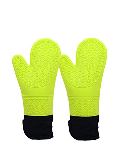 Nideen Silikon Ofen Handschuhe hitzebeständig und Wasserdicht Küche Extra Lang Backofen Handschuhe mit Weichem Innenfutter aus Baumwolle für Kochen, Backen, Grillen BBQ Outdoor - Silikon-grillen-handschuhe