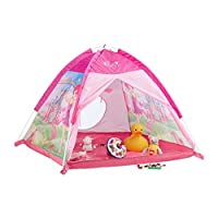Relaxdays Play Tent for Girls, Fairy Castle Playhouse for Indoor and Outdoor Use, HWD 90x118x115 cm, Pink