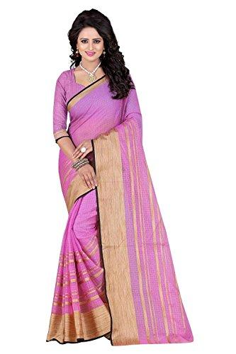 PerfectBlue Cotton Saree with Blouse Piece (I-00022_Violet_Free Size)