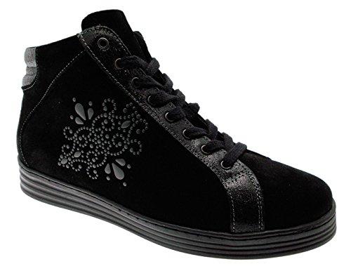 art C3672 lacci training nero cerniera sneaker scarpa donna 38 nero