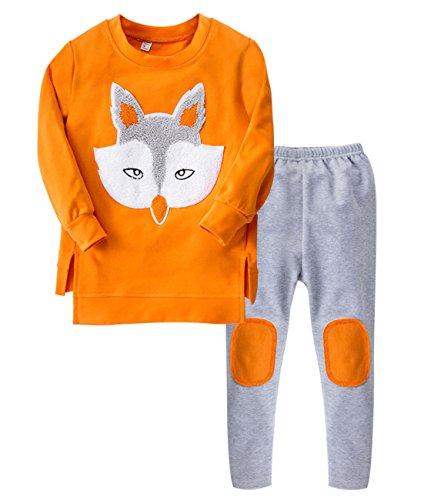 Mädchen 2017 Neue Long-Sleeved Cartoon fox 2pcs Kostüme Kleidung Set?Rucksack Drucke Die Top & Hosen Zwei-Stück (Mädchen Kostüme Für Fox)