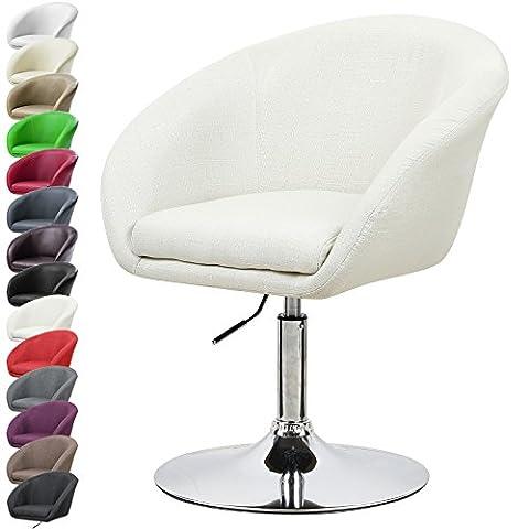 WOLTU 1X Fauteuil de bar réglable BH61cm-1-a design en lin,chaise canapé avec accoudoir,Crème Blanc