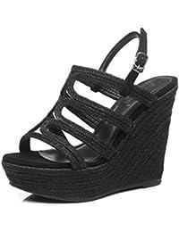 Jingsen Summer New Slope Con Piattaforma Impermeabile Straw Retro Sandals  Women Braided Scarpe Donna Tacco Alto 0bd787ca8a8