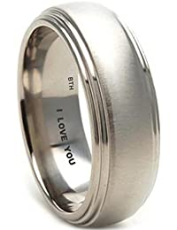 Mens Titanium Ring-7mm Wide Engraved With I Love You Classic Unisex Wedding Engagement Comfort Fit Jewellery Band Ring