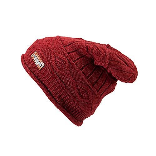 HCFKJ❄ Hut, Männer Frauen Warm Crochet Winter Plus SAMT Plaid Ohrschutz Slouchy Hat ()