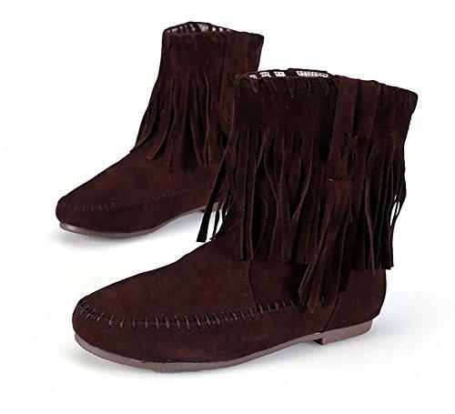 Wealsex Bottes Plates Suédé Automne Hiver Tassel Boots Femme brun foncé fourré intérieur