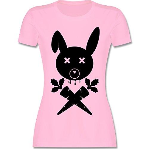 Sonstige Tiere - Hase Skull - tailliertes Premium T-Shirt mit Rundhalsausschnitt für Damen Rosa