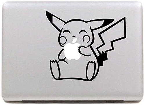 Vati Blätter Removable kreativ Niedlicher Pikachu Aufkleber Aufkleber Skin Art Schwarz für Apple Macbook Pro Air Mac 13