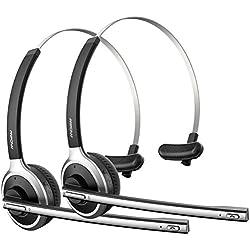 Mpow Auriculares para Oficina Cascos Bluetooth 4.1 para Teléfono, Inalámbricos con Micrófono Externo, 13 HORAS de Conversación, Ligero Manos Libres, Cancelación de Ruido para Llamdas Conductores Centro de Atención Telefónica