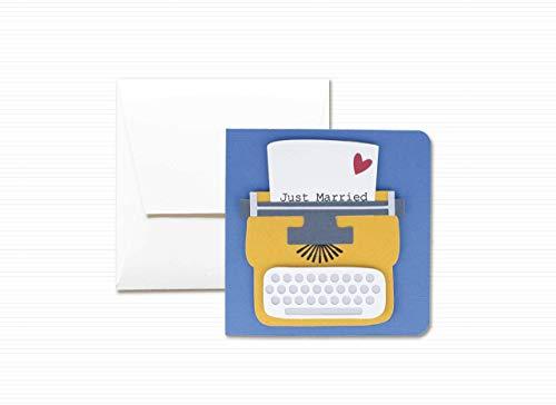 Typewriter - Schreibmaschine - Botschaft der Liebe - Ehe - die besten Wünsche - Grußkarte mit Umschlag (12 x 12 cm) - handgemachte Karte - freier Raum nach innen