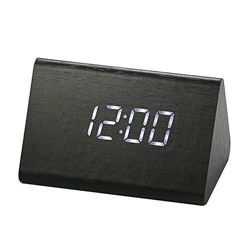 LANCARDO Digital LED Wecker, Schreibtisch Uhr Holz Digital Uhren mit 3 Alarme Temperatur, Sprachsteuerung, 2 Modi Display (Schwarz) - Schreibtisch-uhr Mit Temperatur