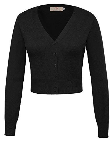 Boléro Tricot Veste Cardigan à Manches 3/4 Tops Hauts avec Boutons Femme Noir 2XL CL2000-1