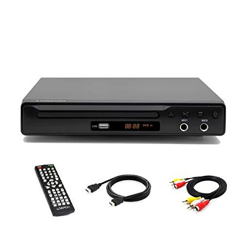 LONPOO Kompakt DVD-Player Multi Regionen 1~6 mit HDMI, Cinch, SCART Port, USB-Eingang, Fernbedienung, Metallschale ( mit AV & HDMI Kabel)