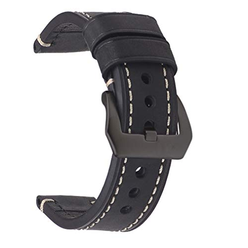 22mm Blcak Watch Band,EACHE Crazy Horse Leather Handmade Watch Replacement Strap,Black Hardware
