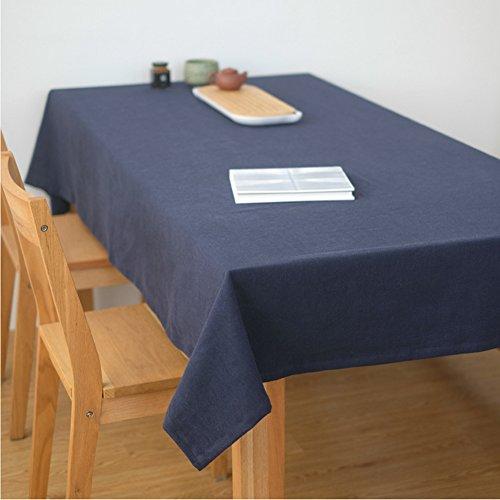 Ommda Tischdecke Leinen Abwaschbar Lang Rechteckig 130x180 Blau mit Tischdeckenklammer 6 Stück 6cm -