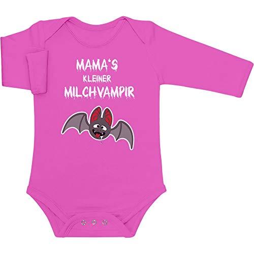 Halloween Baby Kostüm - Mamas Kleiner Milchvampir Baby Langarm Body 62/68 (3-6M) Wow rosa