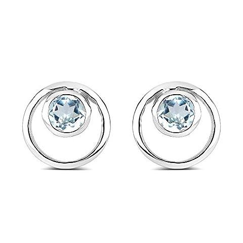 Silvancé - Damen Ohrringe - 925 Sterling Silber - echter Edelstein: Blautopas 0.61 ct. - E4853